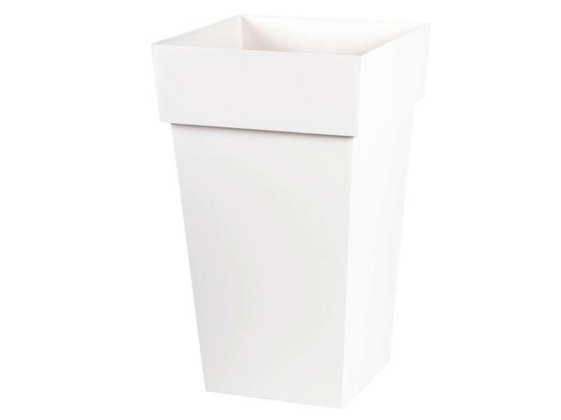 Pot de fleur carré toscane 39 x h.65 cm - blanc