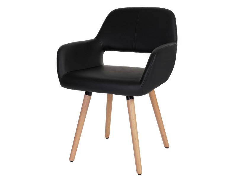6x chaise de salle à manger altena ii, fauteuil, design rétro des années 50 ~ similicuir, noir