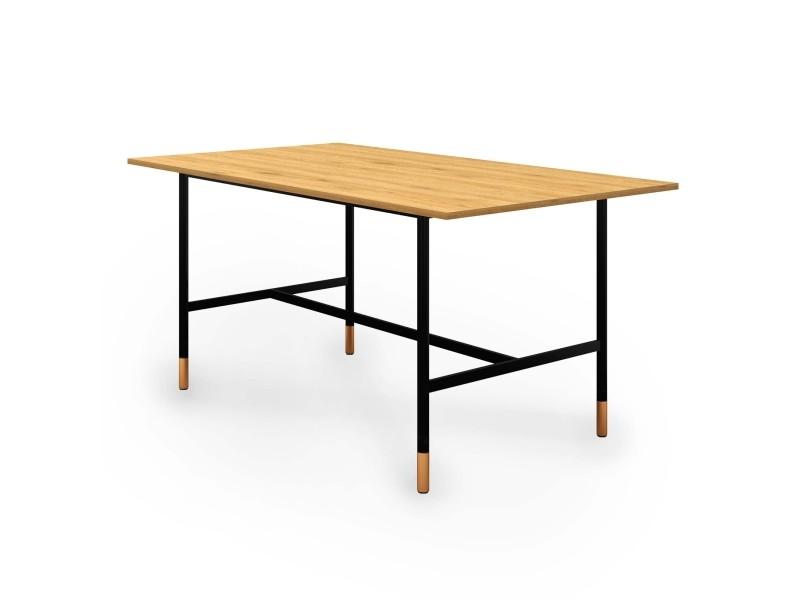 Table à manger design industriel en bois et métal noir 6 personnes lizea MUNICHDT01-TAB