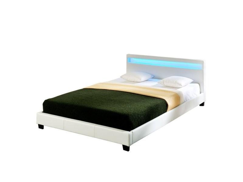 Lit capitonné à led de corium (paris) (blanc)(160x200cm) lit moderne, cuir synthétique, avec sommier à lattes