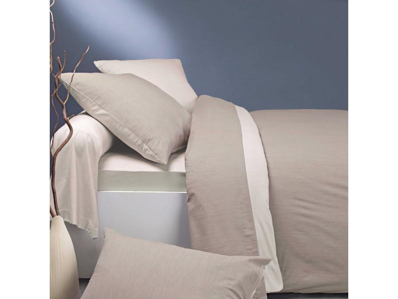 Parure de lit écorce lin/crème 140x200 cm