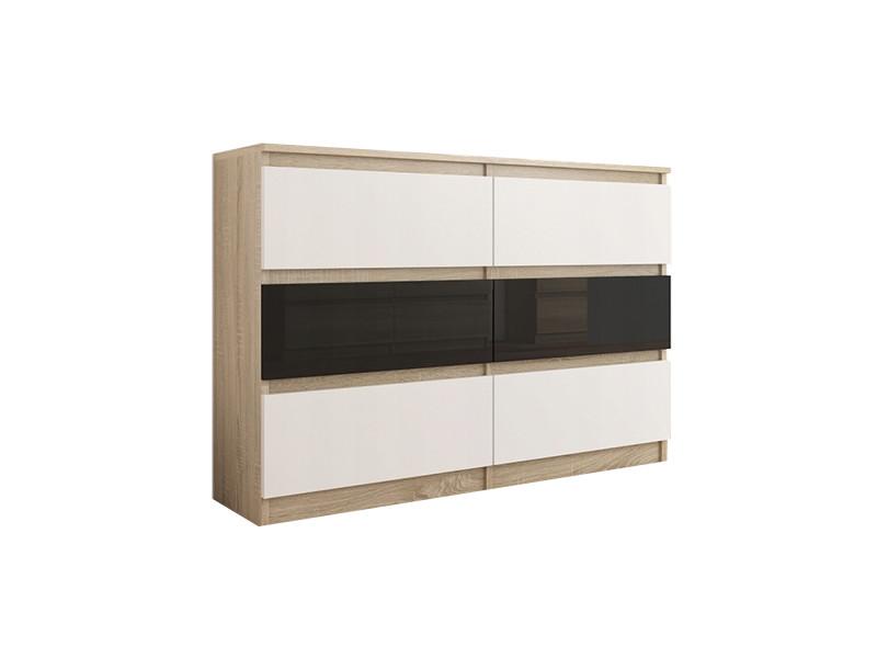 Munich s1 | commode contemporaine chambre salon bureau | 140x77x30 | dressing 6 tiroirs | meuble de rangement scandinave | sonoma/blanc/noir laqué