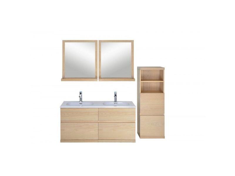 Ensemble salle de bain chêne 120 cm meuble + vasque + 2 ...