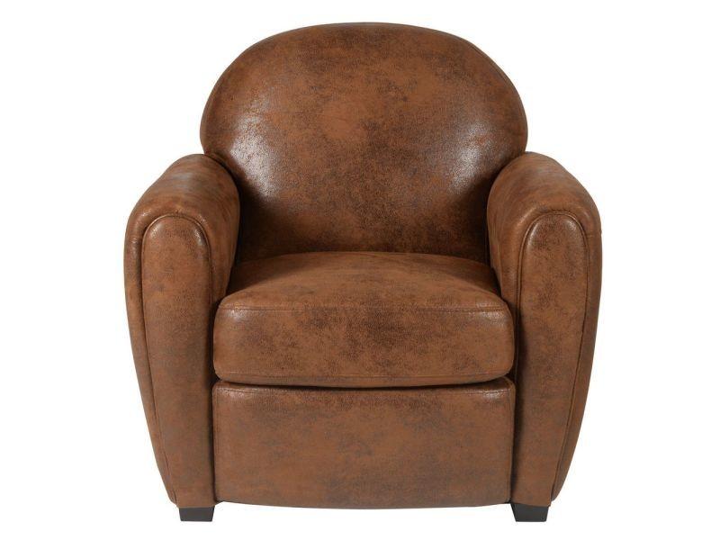 Vente Fauteuil Club fauteuil club vintage microfibre marron sf-maya1p/fa - vente de