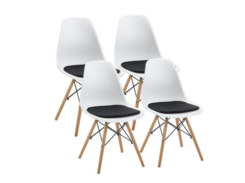 Lot de 4 blanc chaise scandinave design+4 coussins pour chaises,noir