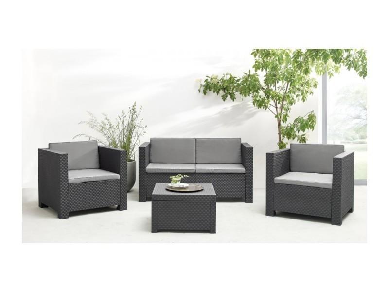 Salon de jardin diva 4 places en résine tressé gris anthracite SET ...