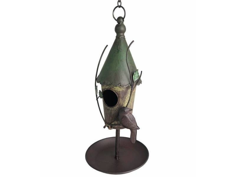 Nichoir à oiseaux à poser ou maisonnette à suspendre motifs oiseaux en fer patiné coloré 21x21x43cm