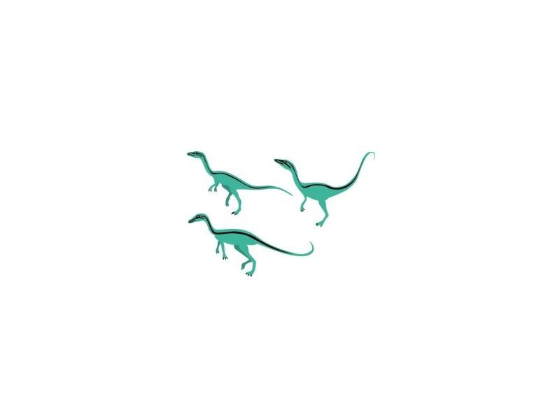 Stickers enfant : 3 compsognathus - format : 14 x 21 cm