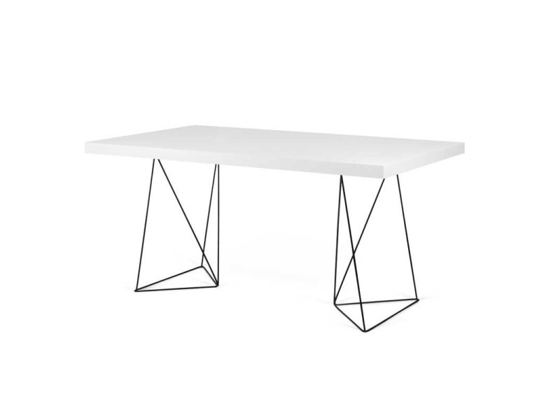 Bureau blanc/métal noir 160 cm - kontor - l 160 x l 90 x h 77 - neuf