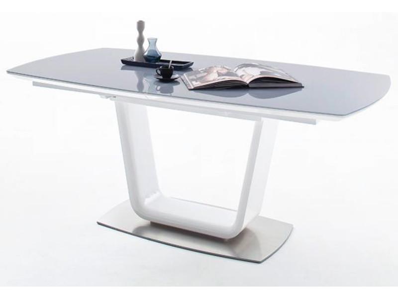 Table à manger extensible rectangulaire laqué blanc mat/gris - 180-230 x 76 x 95 cm -pegane-