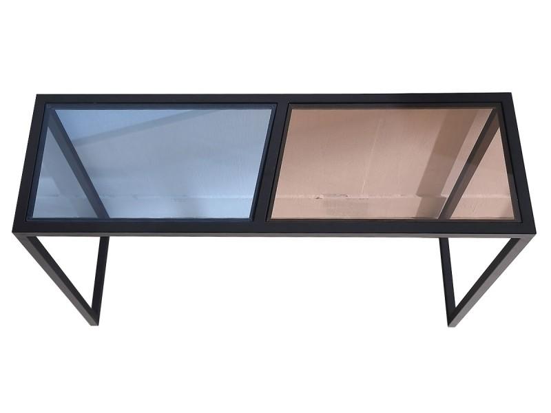 Console verre esprit - marron / bleu - noir