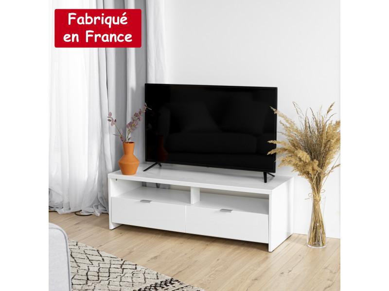 Meuble tv 2 tirroirs blanc brillant