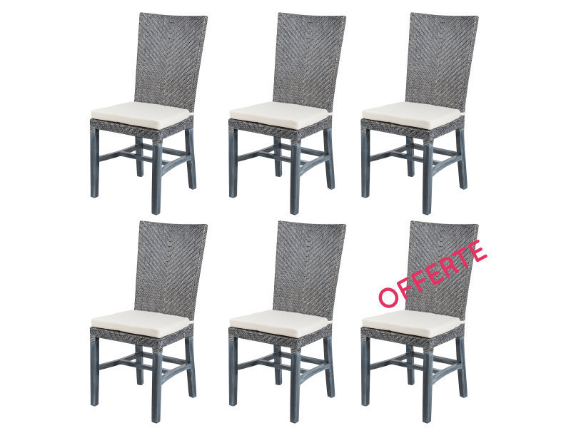 soldes 36 lot 6 chaises en rotin grises ellen chaises de salle manger vente de chaise. Black Bedroom Furniture Sets. Home Design Ideas