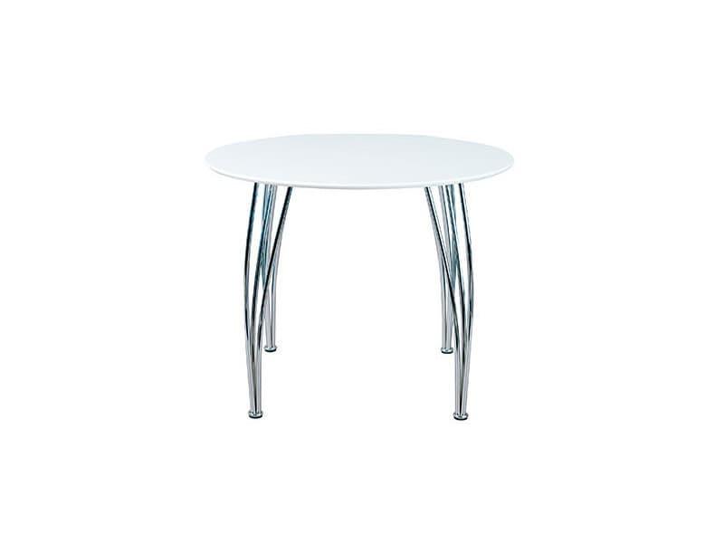 Table Ronde 100 Cm Blanc Et Pieds Metal Vente De Table Conforama