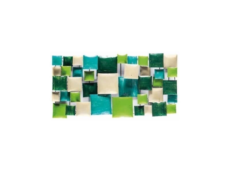 Décoration murale en métal 80 cm vert/turquoise - prisme 02