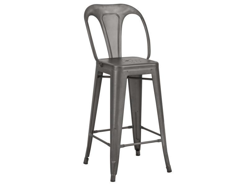 chaise de bar indus gris acier 66 cm lot de 2 conforama On chaise 66 cm