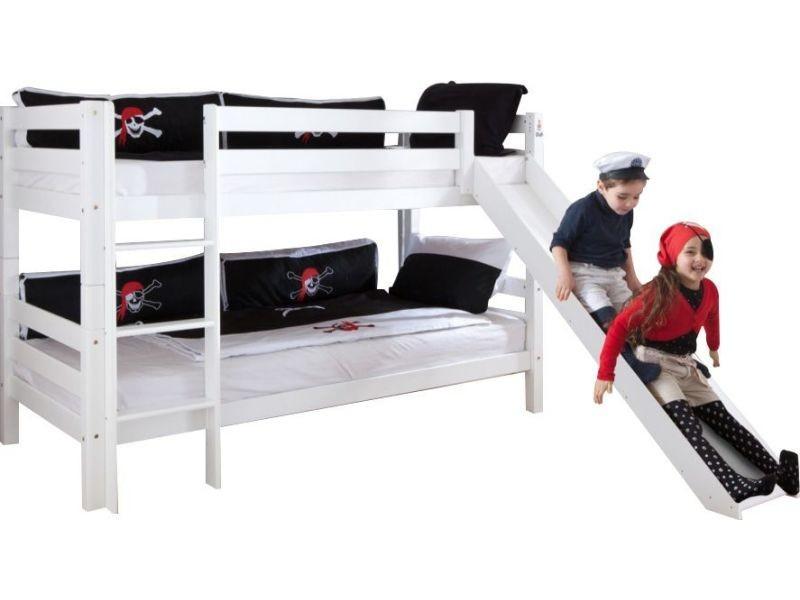 lit superpos 90x200 avec toboggan coloris blanc vente de comforium conforama. Black Bedroom Furniture Sets. Home Design Ideas