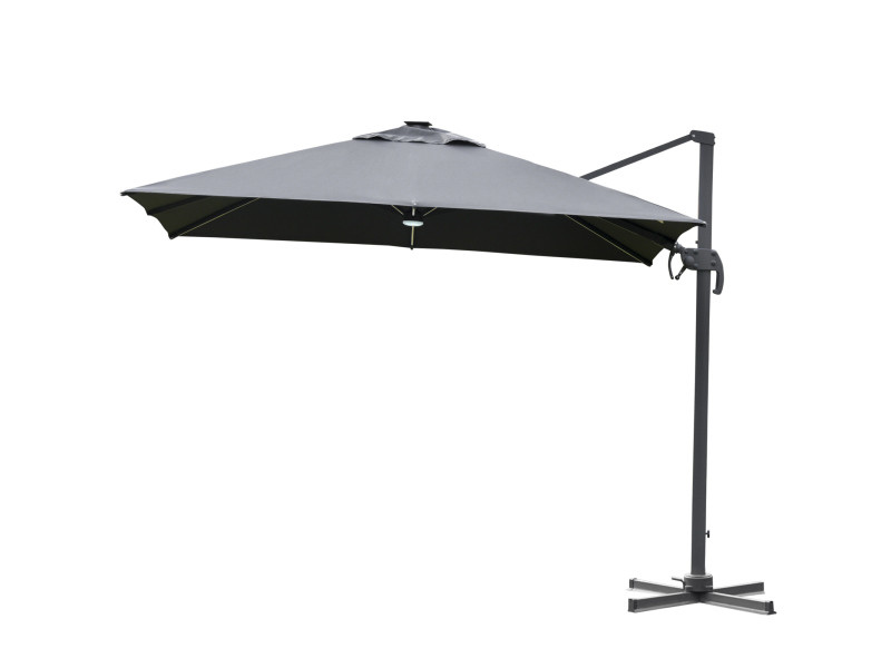 Parasol déporté carré parasol led inclinable pivotant 360° manivelle piètement acier dim. 3l x 3l x 2,66h m gris