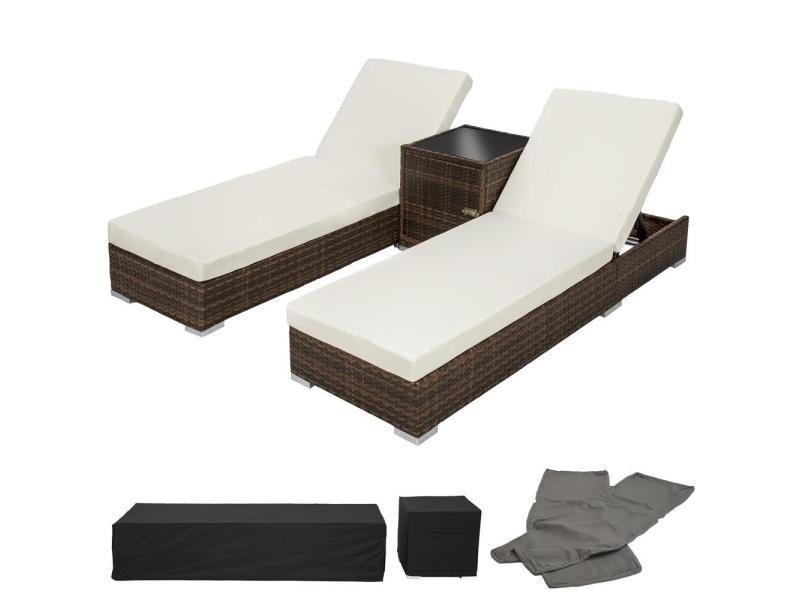 Lot de deux chaises longue bain de soleil en résine tressé poly rotin + table + deux set de housses + housse de protection marron helloshop26 2108019