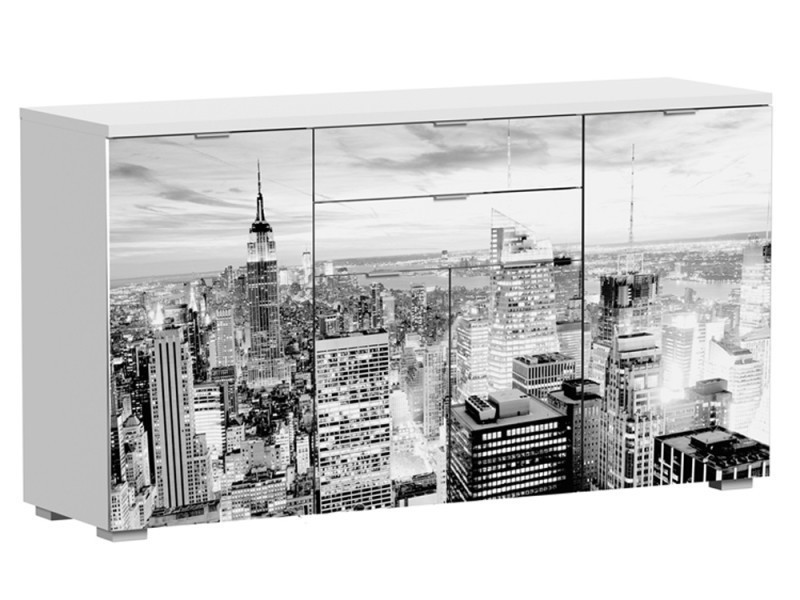 Buffet 4 portes et 2 tiroirs blanc/new york, 1600 x 450 x 860 mm -pegane-