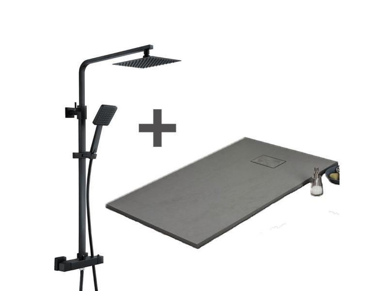 Pack receveur de douche 80 x 140 cm extra plat gris + colonne de douche thermostatique finition noir mat