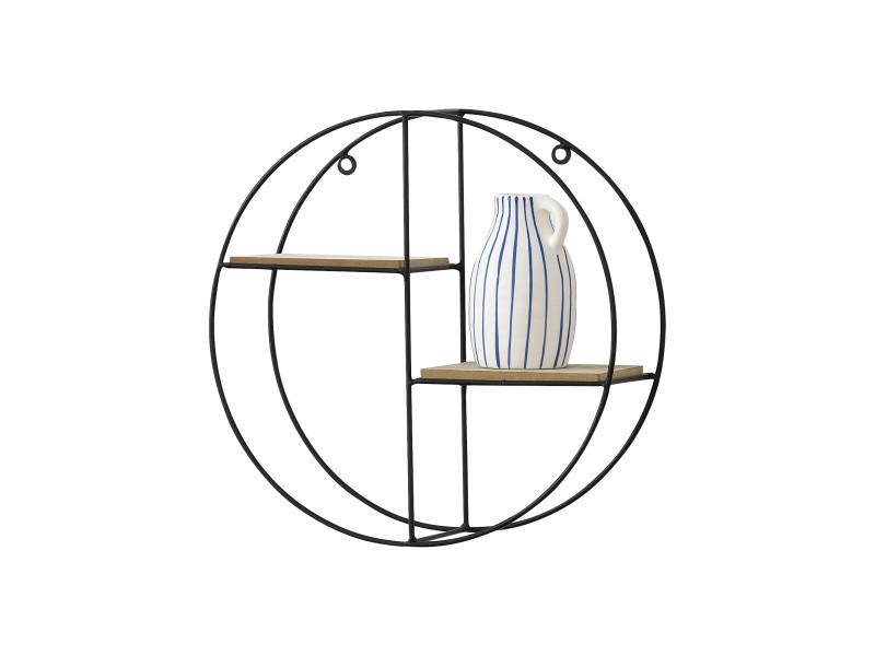 [en.casa] etagère murale ronde meuble de rangement métal et bois couleur bois nature et noir 35 x 12 x 35 cm