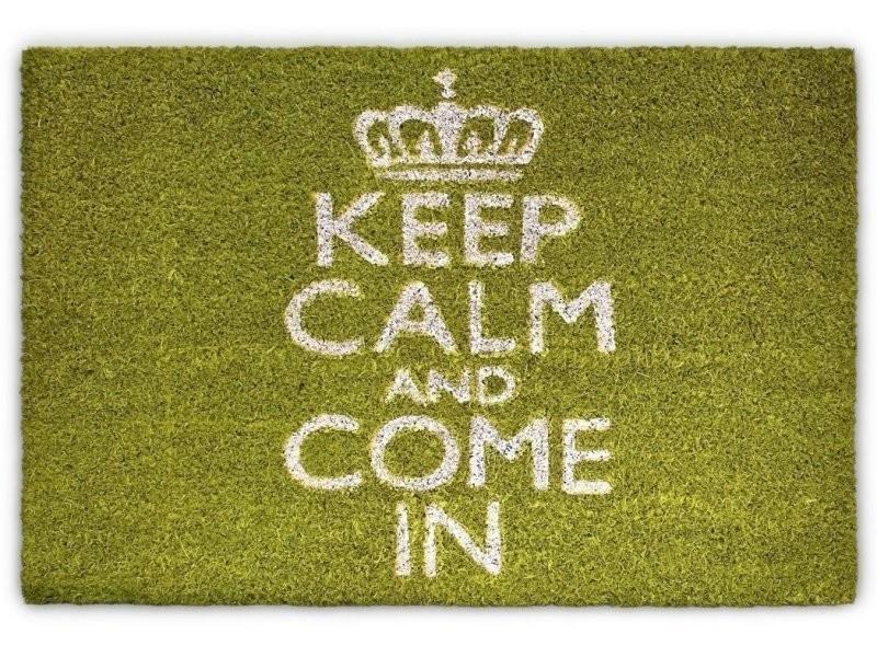 Paillasson tapis porte d'entrée essuie-pieds fibre de coco vert 60 x 40 cm helloshop26 2013031
