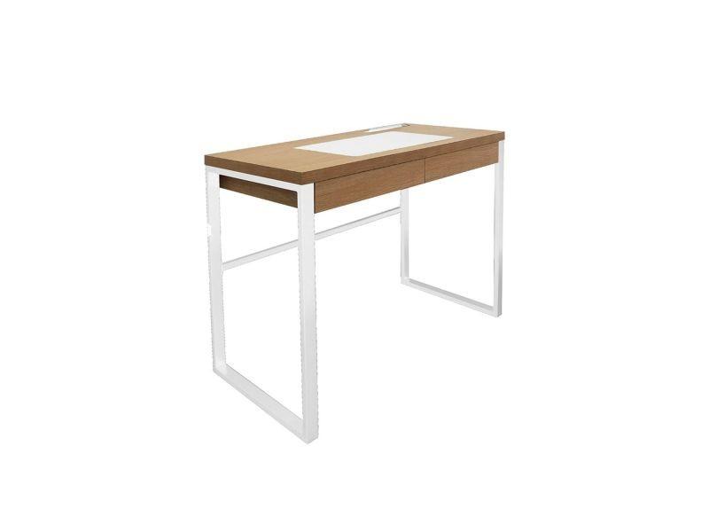 Bureau en métal et bois industriel - l. 100 x h. 74 cm - blanc et bois