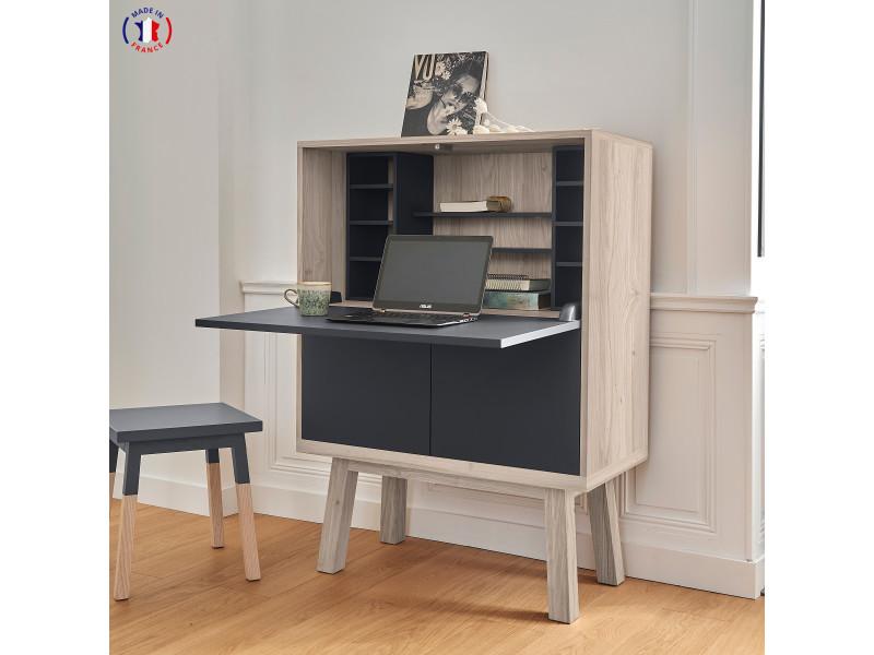 Bureau secrétaire avec rangement en chêne 90x46 cm noir - 100% fabrication française