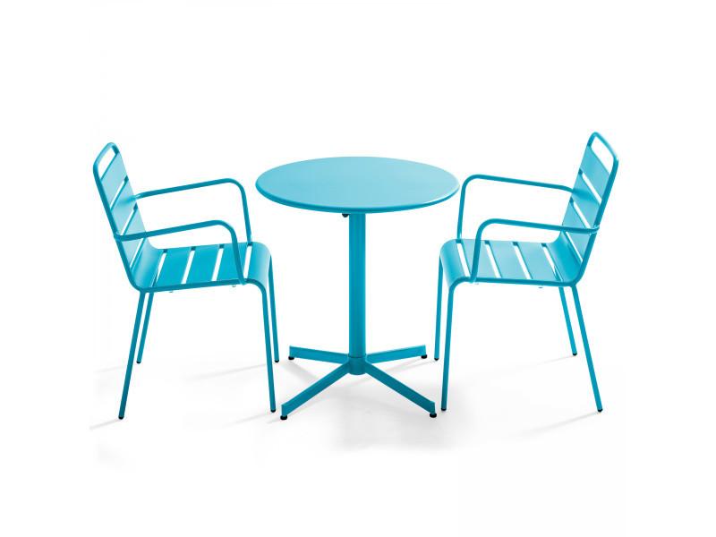 Table de jardin ronde bistrot rabattable en métal ⌀70cm et 2 fauteuils palavas 2 places acier bleu