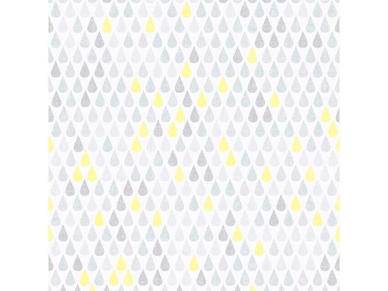 Papier peint intissé goutte vinyle grainé 1005 x 52cm bleu, jaune 20-658