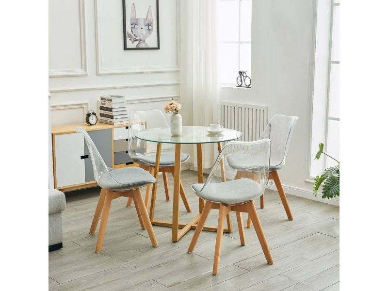 Table ¨¤ manger ronde verre transparent design + 4 chaises encastrable gris,style scandinave