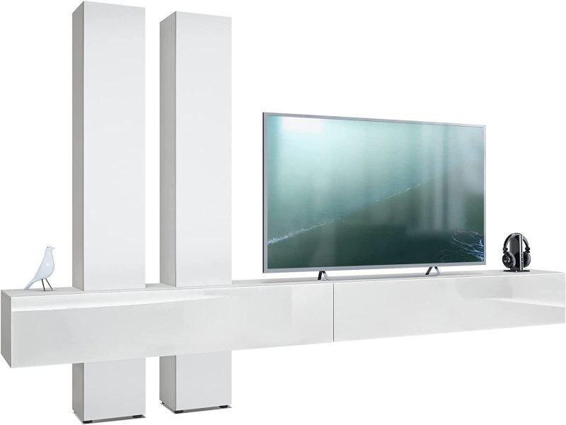 Meuble bas tv laqué blanc / gris