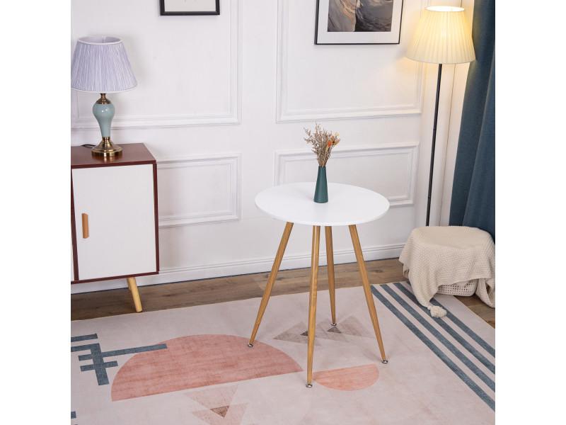 Table à manger ronde design blanc,style scandinave 60 x 60cm
