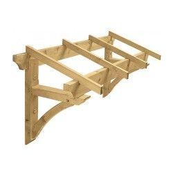Jardipolys - auvent pour porte d'entrée en bois 1,3 m2 - borgia