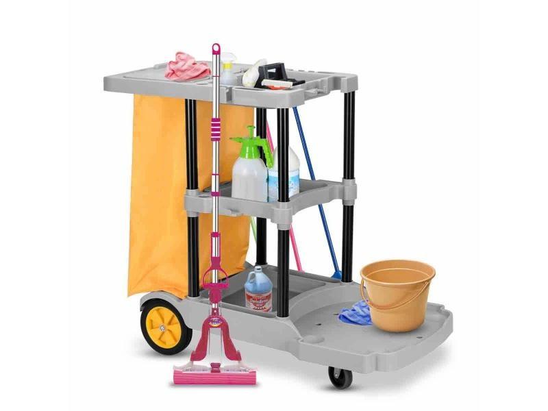 Giantex chariot de nettoyage chariot de concierge chariot de ménage avec sac poubelle 4 rouleaux avec 3 plateaux pour hôtel restaurant