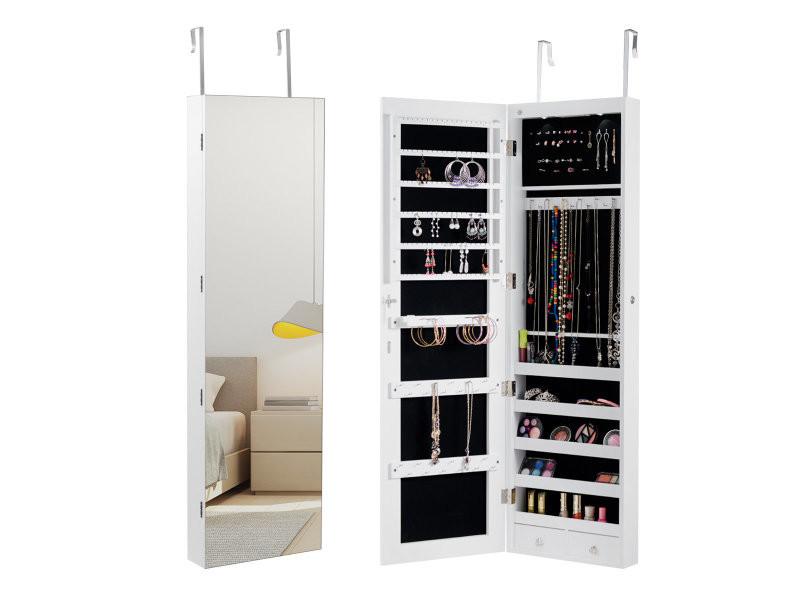 Giantex armoire bijoux de rangement armoire à bijoux mural armoire bijoux led accrochée à la porte avec miroir blanche