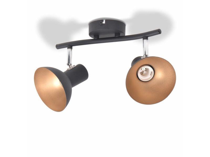 Icaverne - plafonniers gamme plafonnier pour 2 ampoules e27 noir et doré