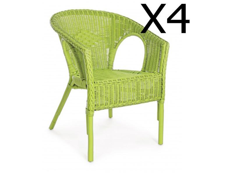 Lot de 4 fauteuils coloris vert - dim : l 58 x p 61 x h 74 cm -pegane-