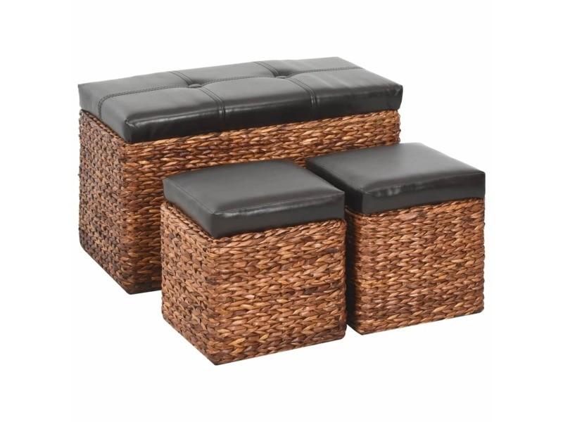 Inedit bancs gamme phnom penh banc avec 2 poufs jacinthe d'eau marron et noir