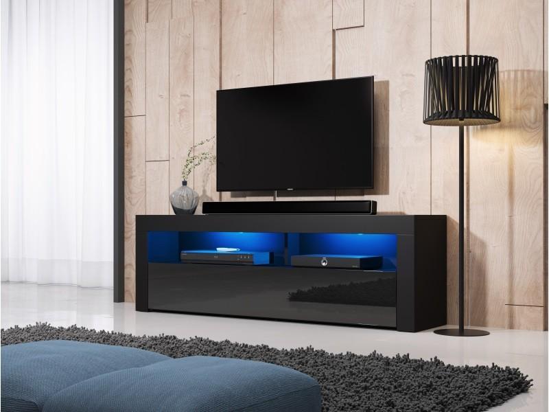 Meuble tv moderne / élégant nuntak noir / noir brillant 160cm led