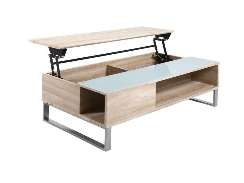 Bobochic table basse avec plateau relevable azea chêne
