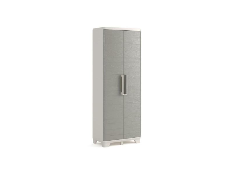 Armoire haute de rangement - wood grain - texture bois - 2 portes - 3 étageres - pieds ajustables - verouillable - gris KET8013183107918