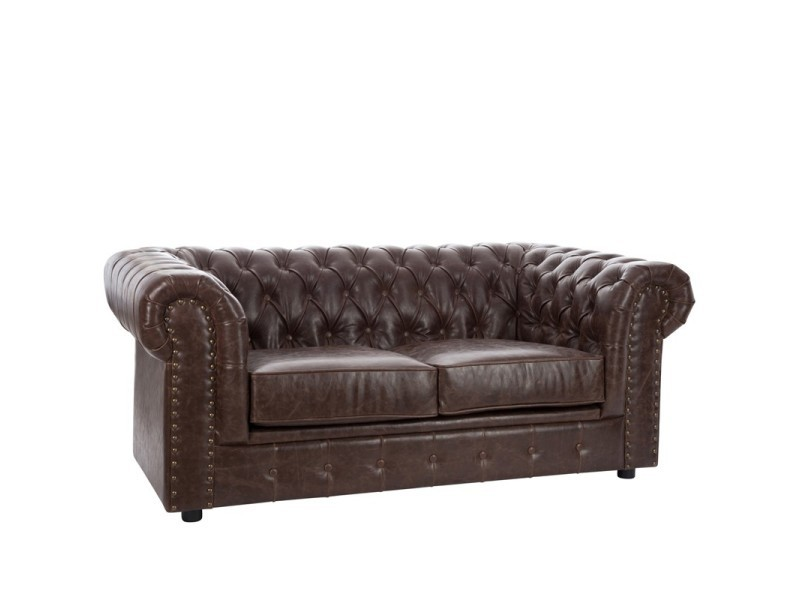 Canape Chesterfield 2 Places Simili Cuir Boston L 175 X L 97 X H