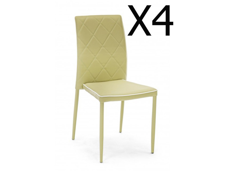 Lot de 4 chaises coloris vert saule en métal - dim : l 43,5 x p 53,5 x h 92 cm -pegane-