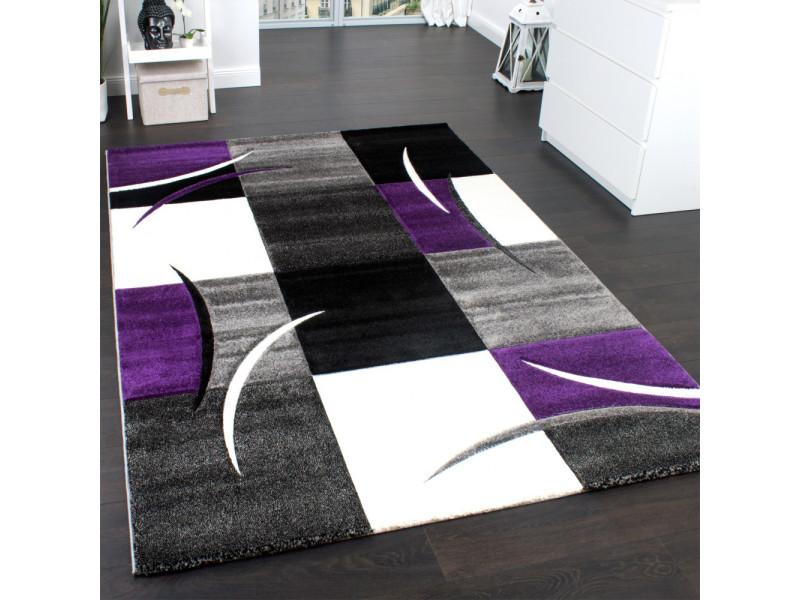 Tapis design et modern pour le salon diamond 665 blanc, violet, noir ...