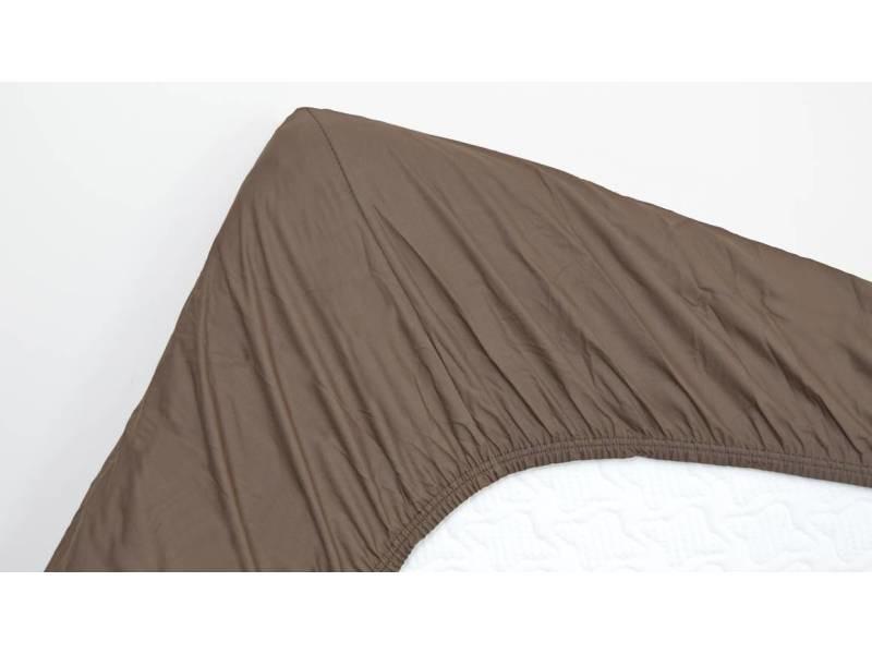 Snoozing - coton - drap-housse - 140x220 cm - marron SMUL102155412