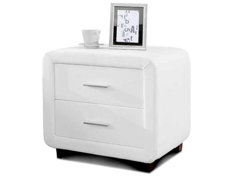 Table chevet design en simili cuir zest - blanc