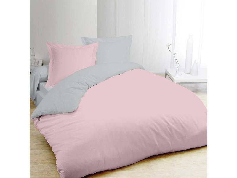 housse de couette bicolore gris et rose 240x260cm 2 taies vente de vision conforama. Black Bedroom Furniture Sets. Home Design Ideas