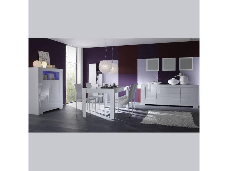 Salle à manger complète design blanc laqué lima - Vente de ...